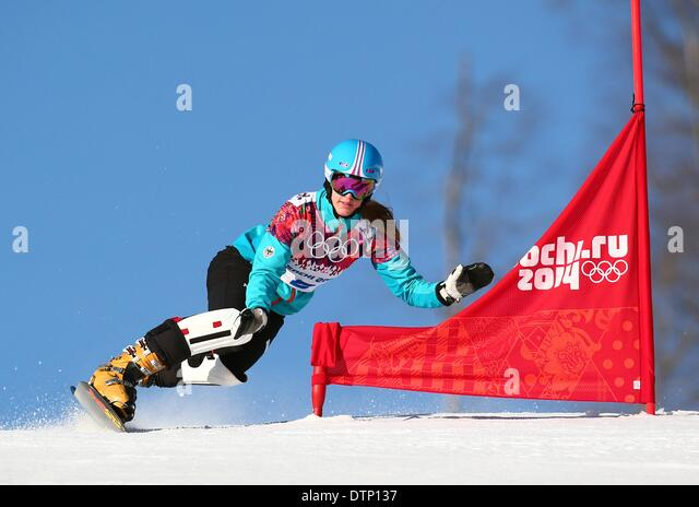 Sochi, Russia. 22nd February 2014. Anke Karstens of Germany in action during the Ladies' Snowboard Parallel - Stock Image