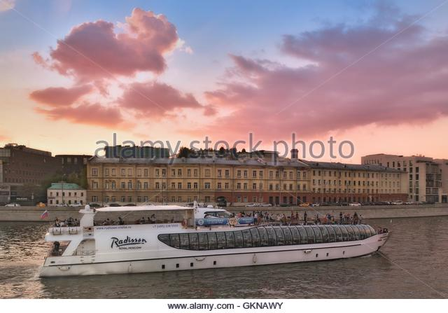 Summer Cruise tours on the Moscow river on the Radisson Flotilla boats. - Stock Image