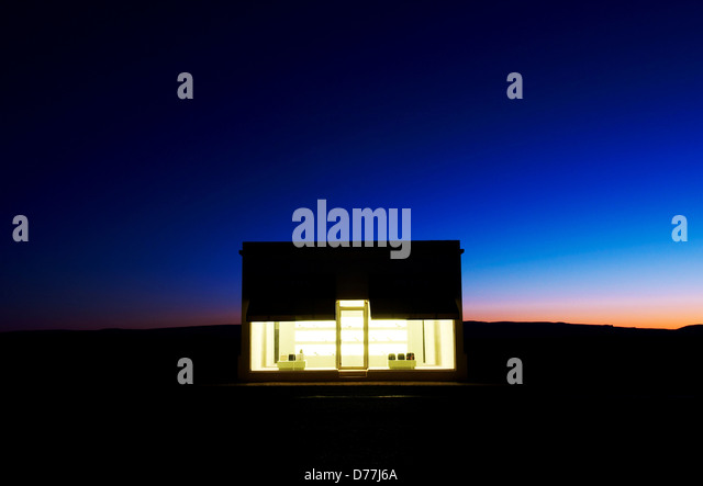 Night view Prada Marfa Marfa Valentine Texas USA - Stock Image