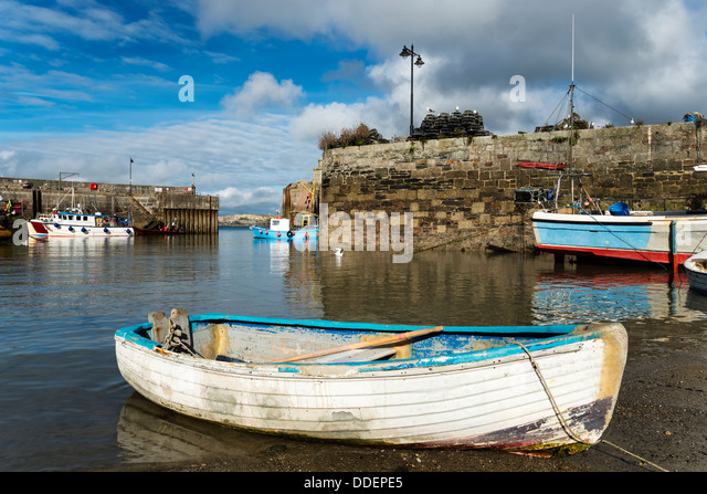 Fishing boats at Newquay harbour in Cornwall. - Stock Image