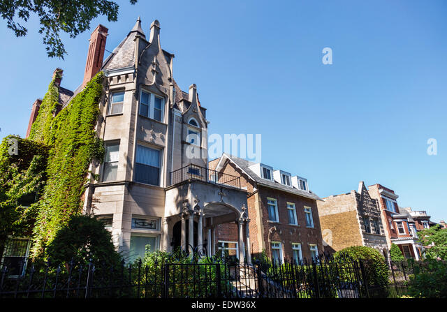 Illinois Chicago South Side South Woodlawn Avenue houses homes mansions - Stock Image