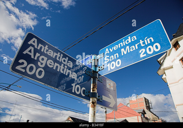 Road signs in Ushuaia, the southermnost town in the world in Patagonia, Argentina. - Stock Image