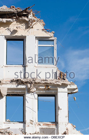 Demolition site building destruction old broken - Stock Image