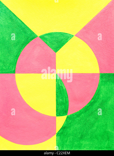 The letters in the word JOY are drawn on top of each other and painted in with corresponding color. - Stock Image
