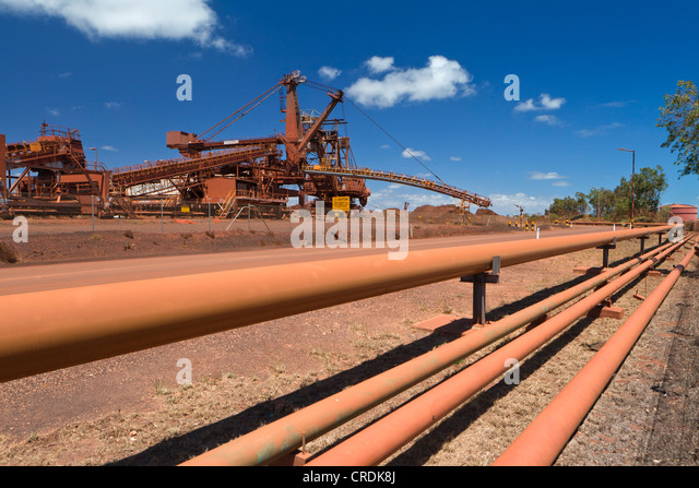 Old site of BHP Iron Ore, now known as BHP Billion, a British-Australian mining group, Port Hedland, Western Australia - Stock Image