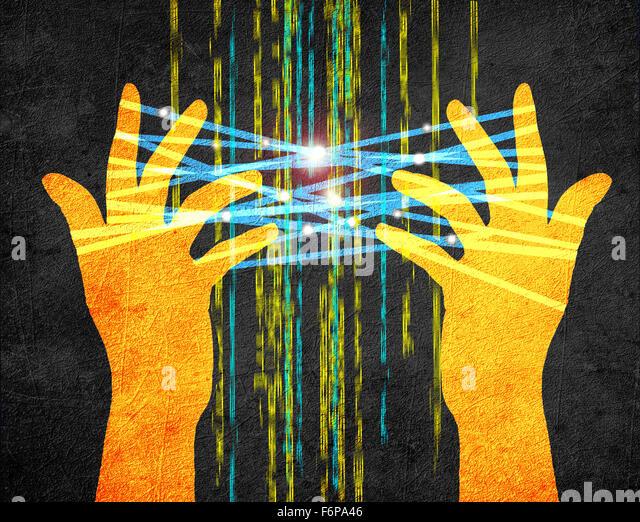 Internet concept digital illustration with hands - Stock-Bilder