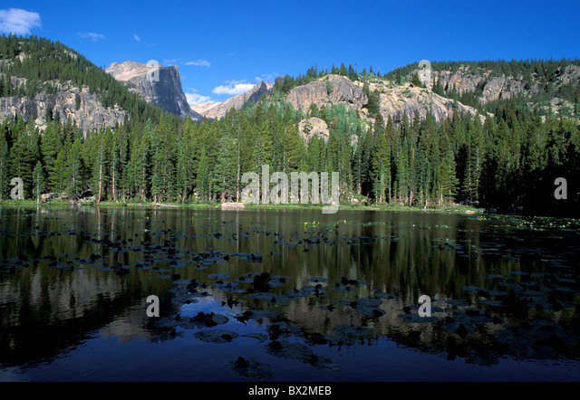 Nymph Lake Emerald Lake Trail Rocky Mountains national park Colorado USA landscape mountains lake - Stock Image