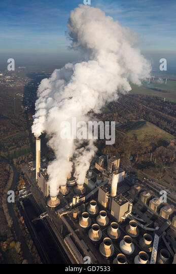 Aerial view, lignite fired power plant, smoke, steam, fossil fuels, energy production, aerial view of Grevenbroich, - Stock Image
