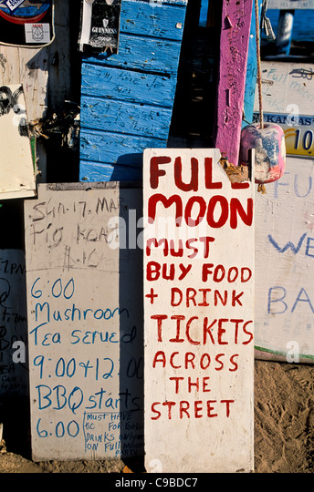 Bomba Shack, Tortola, full moon party signs, British Virgin Islands - Stock Image