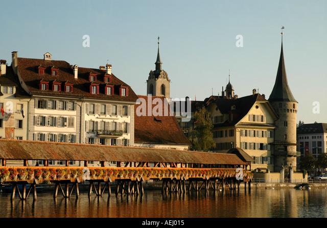 Lucerne Switzerland Chapel Bridge or Kapellbrucke - Stock Image