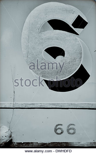 Detail of a train carriage depicting the numbers '6 and '66', England, United Kingdom. - Stock Image