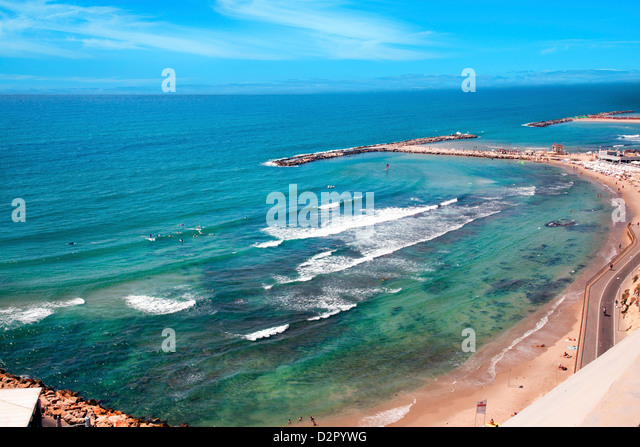 Beach in North Tel Aviv, Tel Aviv, Israel, Middle East - Stock Image