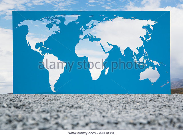 World map with blue sky and clouds - Stock Image