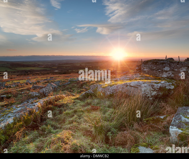 Sunset over Carbilly Tor on Bodmin Moor in Cornwall - Stock Image