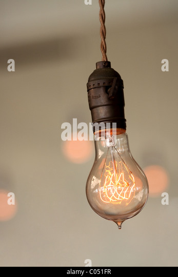 Retro light bulb - Stock Image