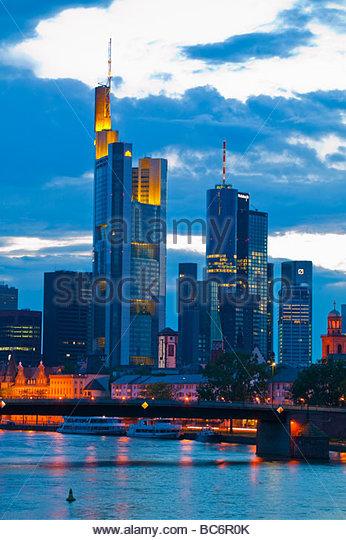 River scene with frankfurt skyline in background Frankfurt am Main Germany - Stock Image