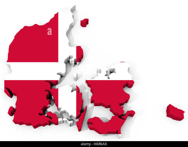europe denmark flag copenhagen viking danish map atlas map of the world europe denmark flag copenhagen viking danish - Stock Image