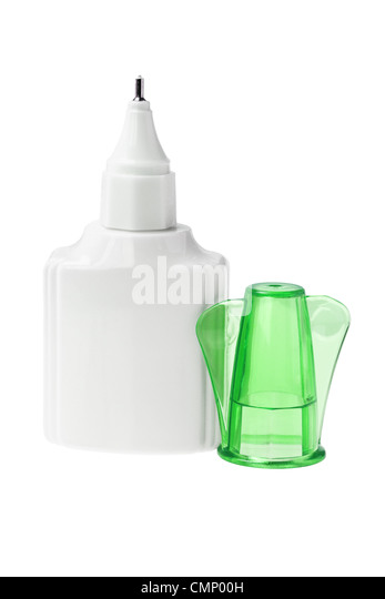 Open Bottle of Correcting Fluid with Green Cap on White Background - Stock Image