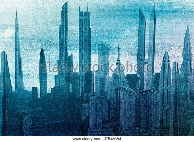Modern cityscape skyscraper architecture - Stock Image