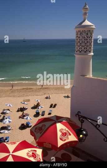 Portugal Algarve Albufiera Fisherman's Beach Moorish style chimney Atlantic coast resort - Stock Image
