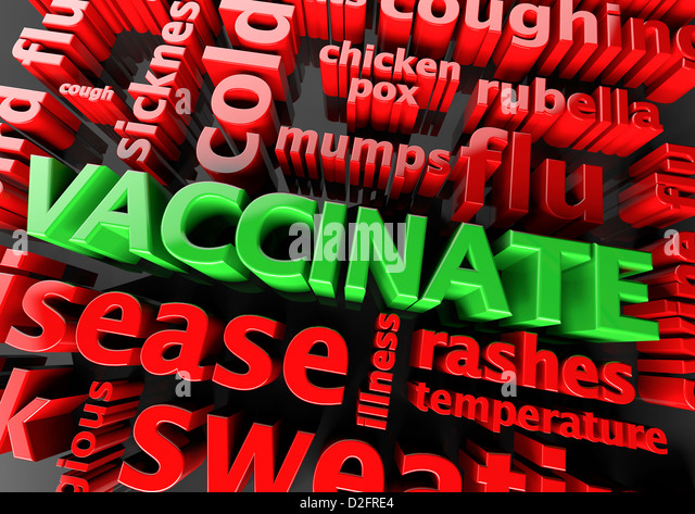 Concept vaccination - The word Vaccinate surrounded by various symptom words - Stock Image