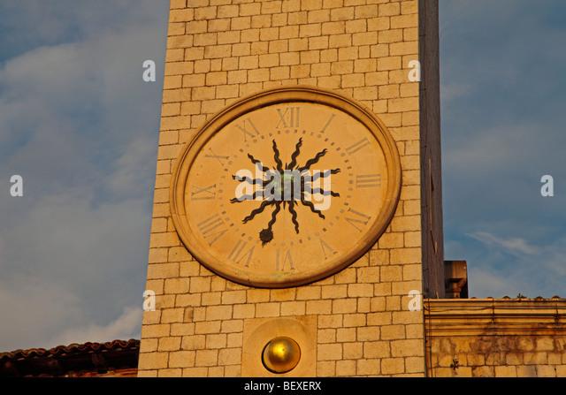 Bell tower on Sponza  Palace, Dubrovnik, Croatia - Stock Image