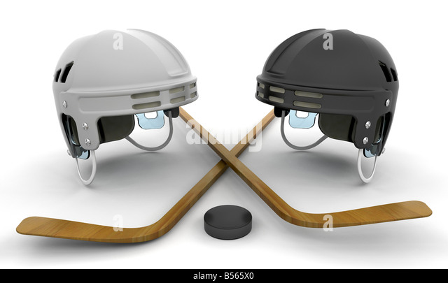 3D render of ice hockey items - Stock Image