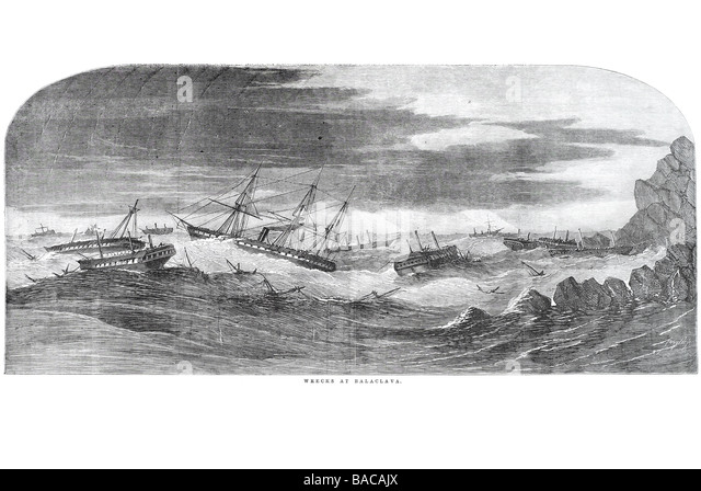 wrecks at balaclava 1854 - Stock Image