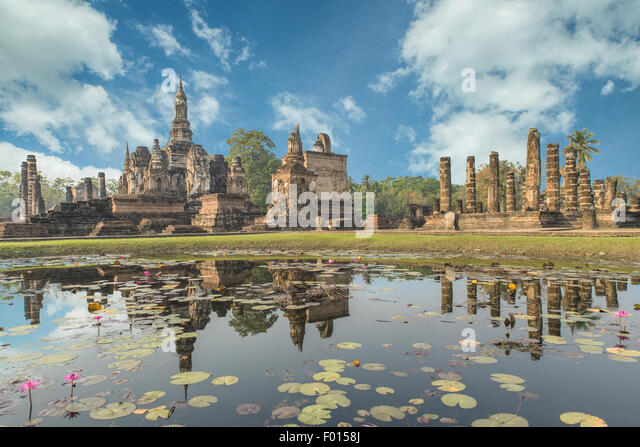 Buddha Statue at Wat Mahathat in Sukhothai Historical Park,Thailand - Stock Image