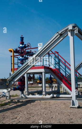 Natural gas exploitation by Severneftegazprom in the Yuzhno-Russkoye gasfield in the Russian tundra of Northwest - Stock-Bilder