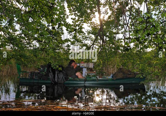 Nature photographer on boat, Müritz National Park, Mecklenburg-Western Pomerania, Germany - Stock Image