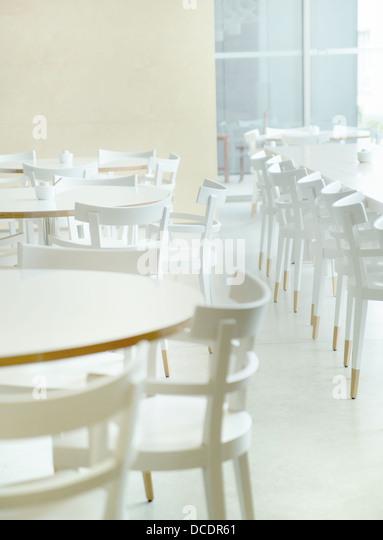 White and light restaurant's interior - Stock Image