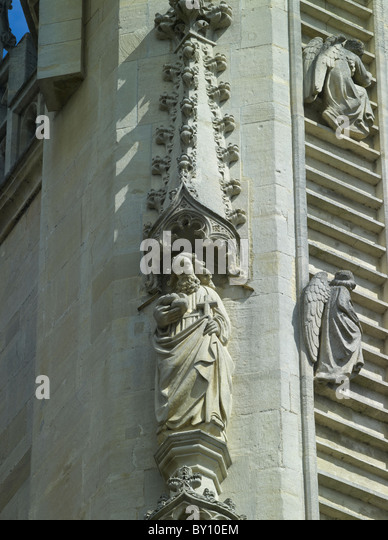 Bath Abbey, St Philip statue on the west front, restored by Laurence Tindall. - Stock Image
