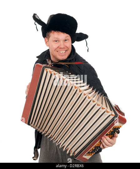 Russian man with accordion,red-neck.isolated on white background  - Stock Image
