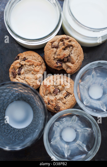 Cookies with glasses of milk - Stock-Bilder