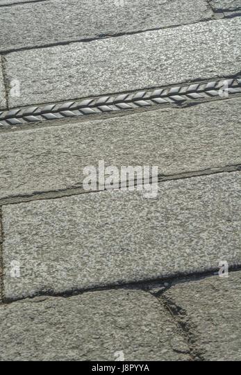 Section of granite pavementin Truro, Cornwall. - Stock Image