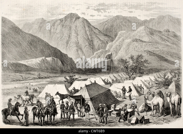 British headquarters along the way to Senafe, Abyssinia - Stock Image