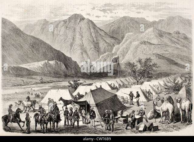 British headquarters along the way to Senafe, Abyssinia - Stock Image