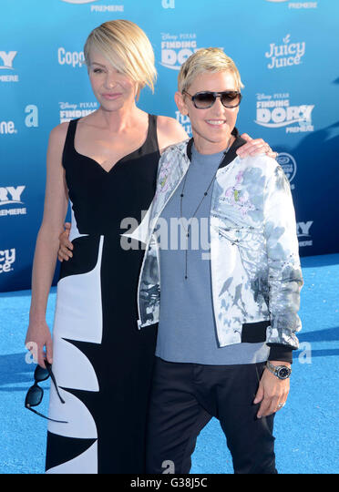Hollywood, CA, USA. 8th June, 2016. 08 June 2016 - Hollywood. Portia de Rossi, Ellen DeGeneres. Arrivals for the - Stock Image