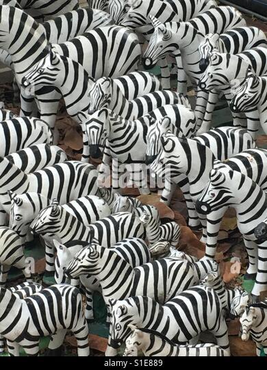 Zebra statuette herd - Stock-Bilder