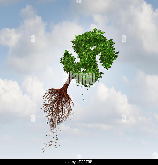 Money Flight business concept as a flying tree with uprooted roots shaped as a dollar sign as a symbol for financial - Stock-Bilder