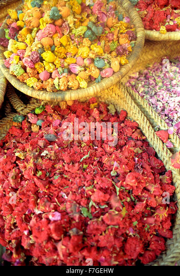 Dried flowers for sale in the medina at Marrakech.Morocco - Stock Image