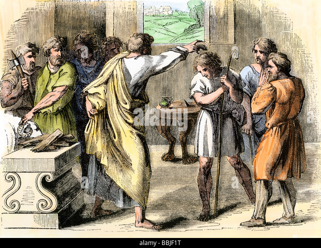 Samuel annointing David King of Judah and Israel - Stock Image