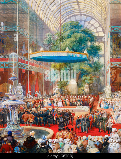 Great Exhibition, 1851. The opening of The Great Exhibition of 1851 by Queen Victoria and Prince Albert, Crystal - Stock Image