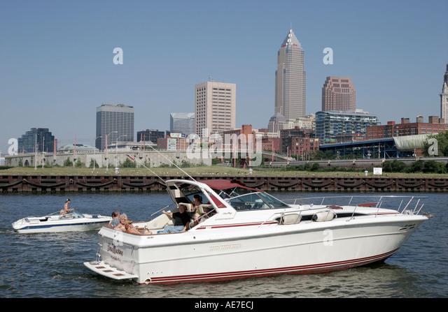 Cleveland Ohio Lake Erie Wendy Park Cuyahoga River city skyline yacht boat - Stock Image