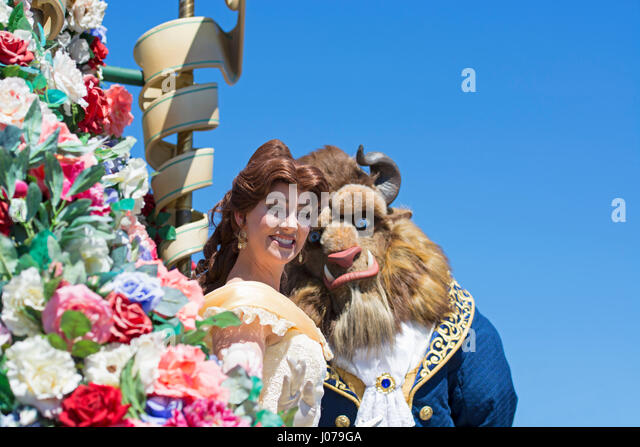 Beauty and the Beast, Parade, Disney World, Orlando Florida - Stock Image