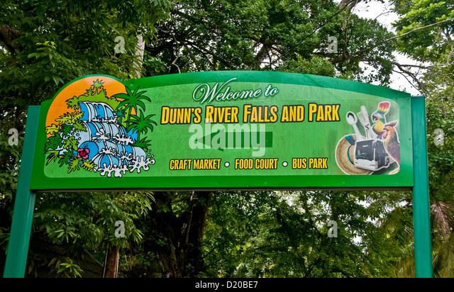 Dunns River Falls park entrance sign Ocho Rios Jamaica - Stock Image
