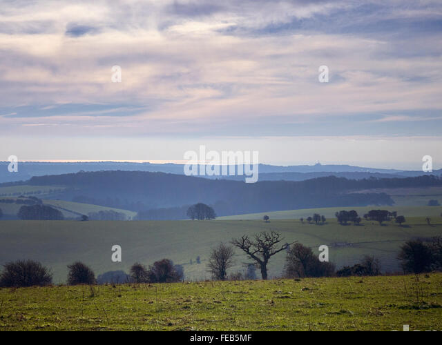 Layers: from the South Downs to the sea at Brighton - Stock Image