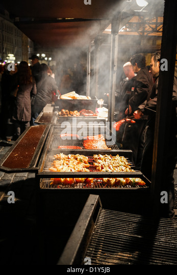 Czech Republic, Prague, Old Town Square, Barbecue Grill on Christmas - Stock Image