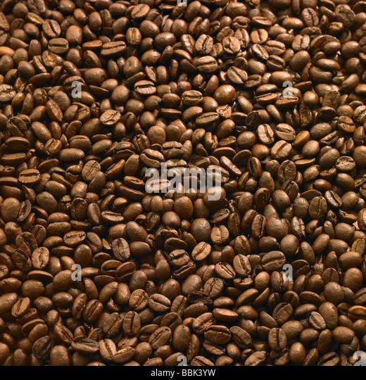 Roasted coffee beans full frame for use as background. - Stock Image